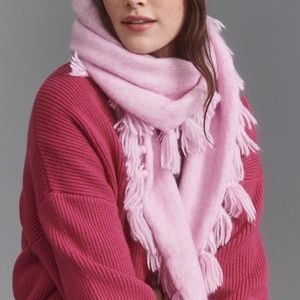 Anthropologie  Pink   Tassled Triangle Scarf